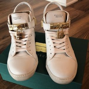 Busemi white leather high top sneakers